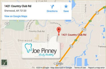 Map showing our location at 1421 Country Club Road in Sherwood, AR